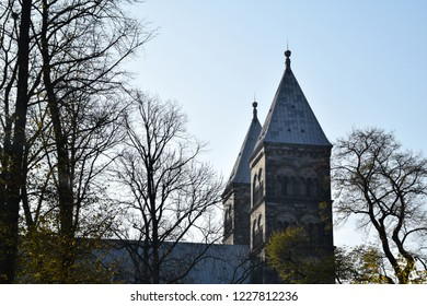 Lund, Sweden. 7 November 2018. The exterior of the Lund Cathedral - view from the park.