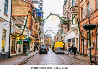 LUND, SWEDEN - DECEMBER 30, 2014: Streets of city Lund in the Christmas and holiday season in Sweden.