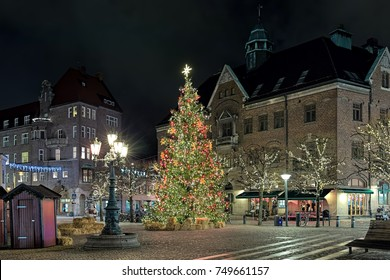Lund, Sweden. Main city's Christmas Tree on Stortorget square in night.