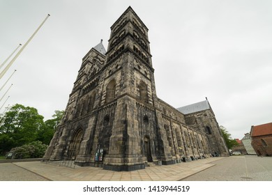 Lund, Sweden May 26 2019 Lund Cathedral is located right in the middle of Lund.The cathedral's towers stand 55 meters high and are, with their pyramidal roofs, a landmark on the skyline of Lund.