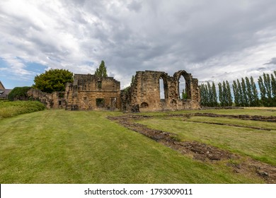 Lundwood, Barnsley, England - August 7 2020: The ruins of Monk Bretton Priory near Barnsley in South Yorkshire.