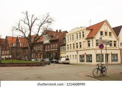 Luneburg / Germany - 10.12.2017: Medieval traditional European houses on a stone pavement. Winter in Europe
