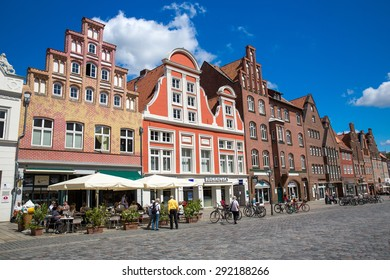 Luneburg, Germany - June 28, 2015: View of the old city in Luneburg. Luneburg lies on the river Ilmenau, about 30 kilometres from its confluence with the Elbe river.