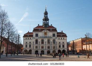 LUNEBURG / GERMANY - MARCH 2015: Baroque facade in the historic centre of Luneburg, Germany