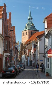 LUNEBURG / GERMANY - MARCH 2015: View to old streets of Luneburg town, Germany