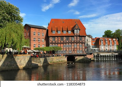 Luneburg, Germany - May 18, 2012: 'Lüner Mühle' restaurant. The historical center of the medieval German city in Lower Saxony for visiting and resting tourists.