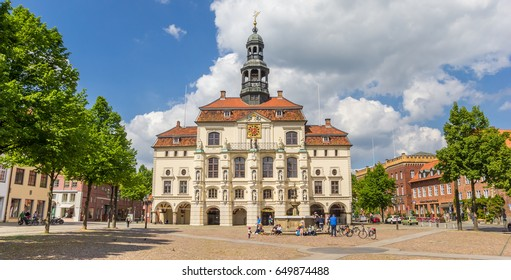 LUNEBURG, GERMANY - MAY 21, 2017: Panorama of the historic town hall of Luneburg, Germany