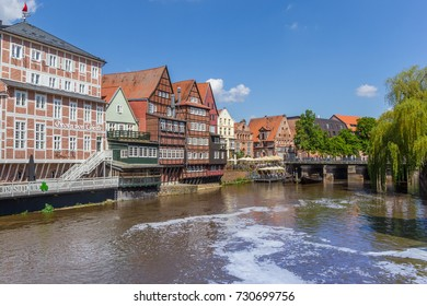 LUNEBURG, GERMANY - MAY 21, 2017: Half-timbered houses at the old harbor of Luneburg, Germany