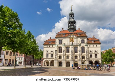 LUNEBURG, GERMANY - MAY 21, 2017: Historic town hall at the market square of Luneburg, Germany