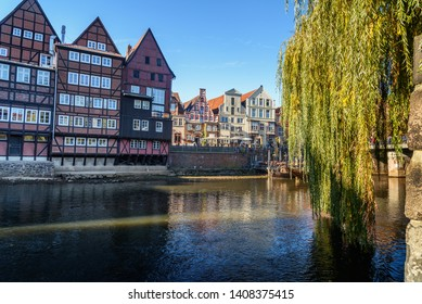 Luneburg, Germany - November 03, 2018: Old historic harbor of Ilmenau river in Luneburg