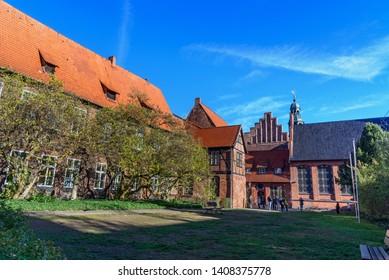 Luneburg, Germany - November 03, 2018: Town hall garden, Rathaus in Luneburg