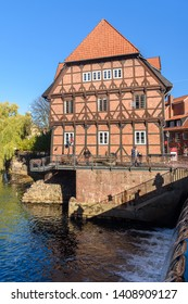 Luneburg, Germany - November 03, 2018: Half-timbered house at old harbor in Luneburg