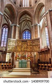 Luneburg, Germany - November 03, 2018: Interior of St. Nicolai chuch in Luneburg