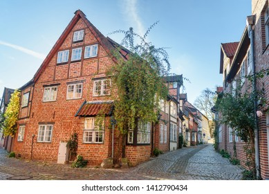 Luneburg, Germany - November 03, 2018: Street with Medieval old brick buildings
