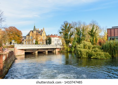 Luneburg, Germany - November 06, 2018: View of bridge over Ilmenau river in Luneburg