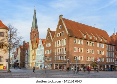 Luneburg, Germany - November 06, 2018: Street with Medieval old brick buildings in Luneburg