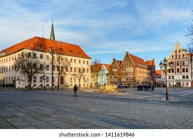 Luneburg, Germany - November 06, 2018: Marktplatz square in Luneburg