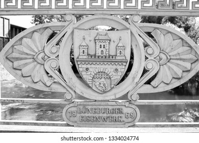 LUNEBURG, GERMANY - November 23, 2014: grey coat of arms of Luneburg castle as historical monument in Germany