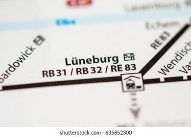 Luneburg Station. Hamburg Metro map.
