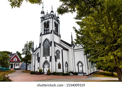 Lunenburg, Nova Scotia, Canada, Sept 2019: St. John's Anglican Church. Exterior of the historic old white wooden Christian church