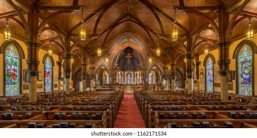 LUNENBURG, NOVA SCOTIA/CANADA - JULY 17, 2018: Interior of the historic St. John's Anglican Church on Townsend Street in Lunenburg