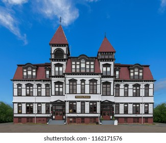 LUNENBURG, NOVA SCOTIA/CANADA - JULY 17, 2018:  Exterior of the historic Lunenburg Academy on Kaulbach Street in Lunenburg