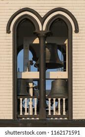LUNENBURG, NOVA SCOTIA/CANADA - JULY 17, 2018:  Closeup of the clock tower of the historic St. John's Anglican Church on Townsend Street Lunenburg