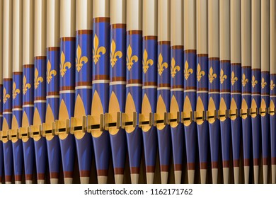 LUNENBURG, NOVA SCOTIA/CANADA - JULY 17, 2018: Closeup of the pipe organ inside the historic St. John's Anglican Church on Townsend Street in Lunenburg