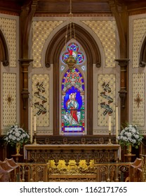 LUNENBURG, NOVA SCOTIA/CANADA - JULY 17, 2018: Altar and pipe orgain inside the historic St. John's Anglican Church on Townsend Street in Lunenburg