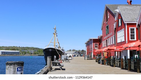 LUNENBURG, NOVA SCOTIA/CANADA- JUNE 6, 2018: The Lunenburg, Nova Scotia waterfront with Fisheries Museum of the Atlantic