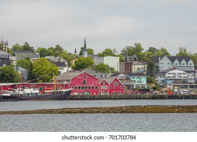 Lunenburg's icon Harbour on a cloudy day in summer.
