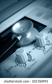lung ventilation apparatus and stethoscope. Medical symbols. Monochrome photos.