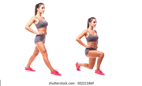 Lunge copy. Young woman doing sport exercise.