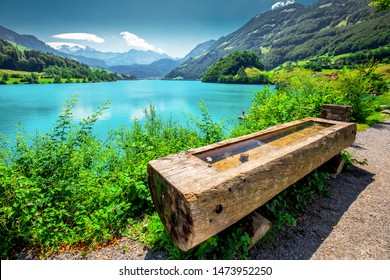 Lungern lake with Swiss Alps in the background, Obwalden, Switzerland, Europe.