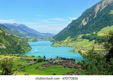 Lungern with the lake Lungern Switzerland