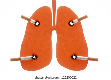 Lungs of the person spoiled by cigarettes is isolated on a white background