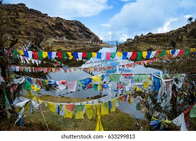 Lungta or prayer flags flung at Kala Pokhri, the Black Water Pond. They are to promote peace, strength, compassion, and wisdom