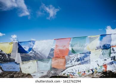 Lungta Prayer Flags Tibetan sutras Darchog view on Ngozumpa glacier Nepal gokyo Khumbu region  mantra