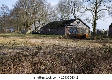 LUNTEREN, THE NETHERLANDS - 24 FEBRUARY 2018. Abandoned agricultural building. Many sheds, barns and farm houses are now abandoned in The Netherlands, as farmers quit and only large farms survive.