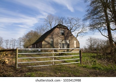 LUNTEREN, THE NETHERLANDS - FEBRUARY 24 2018. Abandoned agricultural building. Many sheds, barns and farm houses are now abandoned in The Netherlands, as farmers quit and only large farms survive.