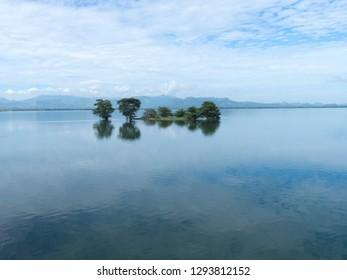 Lunuganwehera Reservoir, a man made water reservoir in Sri Lanka