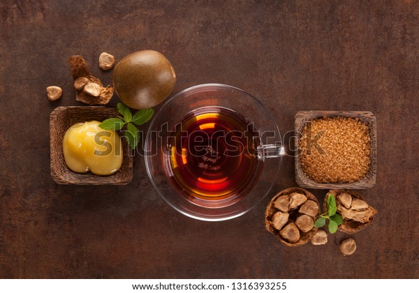 Luo Han Guo aka Monk fruit natural herbal remedy from above. Powerful healthy sweetener.