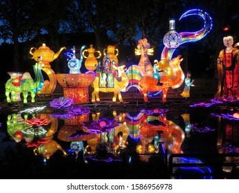 Luoyang, China - april 2017 : Night illuminations at Luoyang peony festival, China