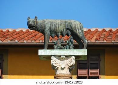 Lupa Capitolina, the symbol of the Roman Empire, Pisa, Italy