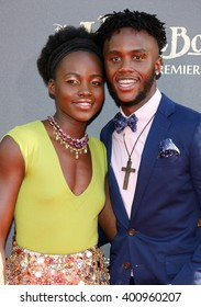 Lupita Nyong'o and Peter Nyong'o at the Los Angeles premiere of 'The Jungle Book' held at the El Capitan Theatre in Hollywood, USA on April 4, 2016.