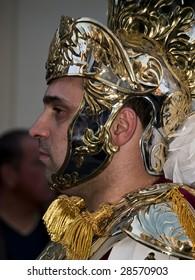 LUQA, MALTA - APR 10- Roman general during the Good Friday procesion in Luqa in Malta April 10, 2009