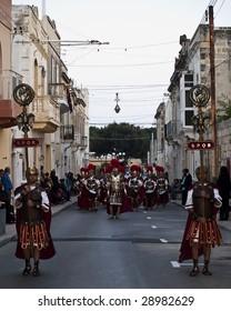 LUQA, MALTA - APR10 -  Roman Empire army exits temple during the Good Friday procession in Malta April 10, 2009