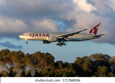 Luqa, Malta  - April 24, 2020: Qatar Airways Cargo Boeing 777-FDZ (REG: A7-BFU) arriving from China with equipment related to the COVID-19 pandemic.