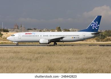 Luqa, Malta April 26, 2008: JetAirFly (Futura International Airways) Boeing 737-46J starting its take off run on runway 32.