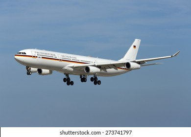 Luqa, Malta April 29, 2015: German Air Force Airbus A340-313 on finals for runway 31. Arriving for the official visit of German President Joachim Gauck.